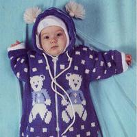 可爱宝宝棒针小熊图案连帽信封式睡袋编织图解