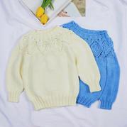 云葉(2-1)從上往下兒童棒針葉子花圓肩毛衣編織視頻