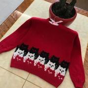 大小两款儿童棒针猫咪提花羊绒衫