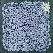 復古風鉤針拼花方形蕾絲小桌墊