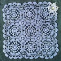 复古风钩针拼花方形蕾丝小桌垫
