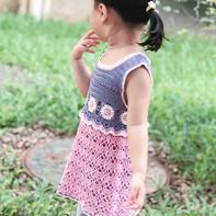 微光 儿童钩针蕾丝拼花背心裙