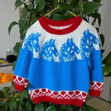 小马儿 儿童棒针卡通图案提花毛衣