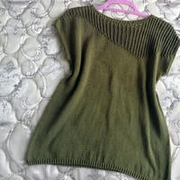 绿洲 领肩镂空花女士棒针短袖套衫