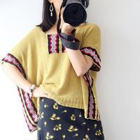 木叶 民族风女士钩织结合大罩衫