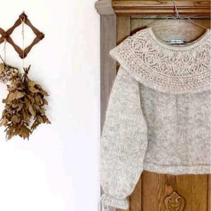 爱莎/童话 从领口往下圈织公主领女士棒针圆肩毛衣