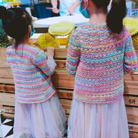 彩虹 可织亲子款的春秋儿童钩针长袖开衫2款