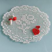 家居美飾鉤針方格編蕾絲玫瑰花墊