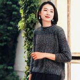 時尚簡約女士棒針前短后長休閑毛衣
