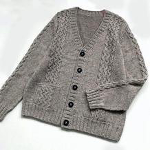 暖宝宝 男士棒针V领长袖开衫毛衣