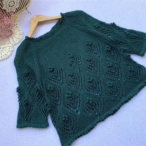 露珠 喵夫人惊蛰立冬合股编织女士棒针七分袖套衫