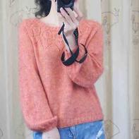蓝郁 秋款女士棒针羊绒马海毛衣