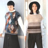 时尚流行大地色女士棒针春秋无袖套衫2款