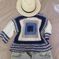 微蓝 原创配色祖母格钩针双面穿中袖套头衫
