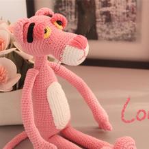 粉红豹(2-2)呆萌钩针粉色豹子玩偶编织视频教程