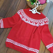 小松鼠 圈织儿童棒针提花毛衣