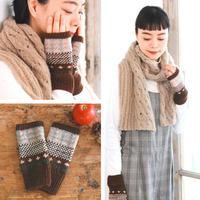 女士棒针麻花围巾与提花手套 手工编织温暖小配件