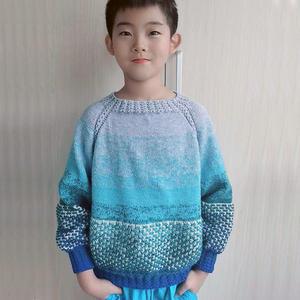 蛋糕线浮针编织男童棒针套头毛衣