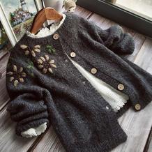 葵花朵朵 儿童棒针绣花外套开衫毛衣