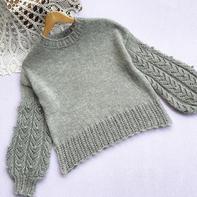 威士忌 喵夫人惊蛰立冬混织女士棒针灯笼袖套头衫
