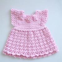 公主裙(2-2)宝宝钩针花朵小飞袖连衣裙编织视频