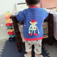 机器人图案男宝宝钩针小开衫毛衣