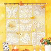 针线蝶舞满庭芳菲 创意钩针方格编蝴蝶花卉图案壁挂