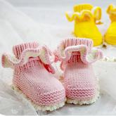 钩织结合花边宝宝高筒鞋(2-1)毛线钩宝宝鞋袜编织视频教程