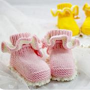 钩织结合花边宝宝高筒鞋(2-2)毛线钩宝宝鞋袜编织视频教程