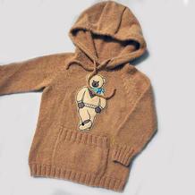 卡通布贴儿童棒针插肩连帽毛衣