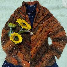 秋季女士钩针披肩式小开衫