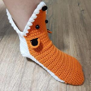 毛线创意编织钩针狐狸地板袜