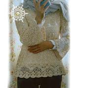 5号蕾丝双股编织2010世编款女士钩针圆肩微喇袖套衫