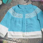 梯田 棒针双色浮针儿童圆肩长袖开衫
