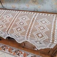 锦瑟 唯美素纱尖角钩针蕾丝沙发巾