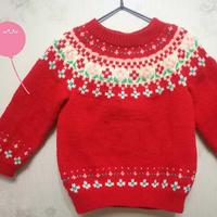 圣诞红儿童棒针提花毛衣(附编织过程)