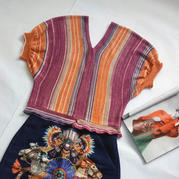 阿拉丁 德棉异域风情女士棒针V领泡泡袖套衫