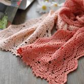 涟漪(3-2)渐变长段染线女士钩针围巾编织视频