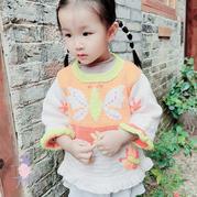 蝴蝶花 甜美可爱宝宝棒针蝴蝶图案木耳边套头毛衣