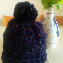 简单好织儿童藏蓝色彩点棒针毛球帽