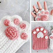 爱心掌心版(2-2)网红猫爪手套钩针编织视频教程