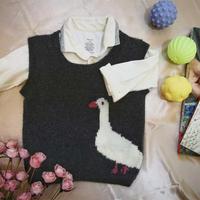 仿淘宝款2-3岁儿童棒针大白鹅羊绒背心