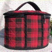 原创爱不释手的红色格子化妆包(化妆箱)--阿丽玛