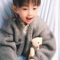熊抱抱 粗针粗线编织儿童棒针口袋开衫
