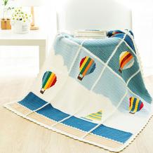 热气球(2-1)一线连拼接方形花片钩针毯子编织视频