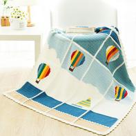 热气球(2-2)一线连拼接方形花片钩针毯子编织视频