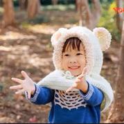 小熊连帽披肩 男女宝宝钩针斗篷披肩编织视频