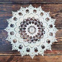 白色钩针蕾丝曼陀罗花样编织过程图
