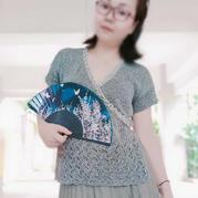 莲 汉服式云素麻棉女士棒针层叠系带小衫