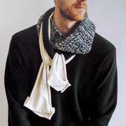 棒针兴旺xw115与针织布料拼接款男士围巾